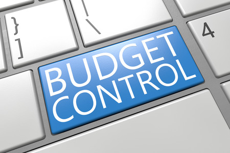 budgets: Budget Control - keyboard 3d render illustration with word on blue key