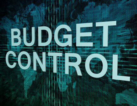 budgets: Budget Control text concept on green digital world map background