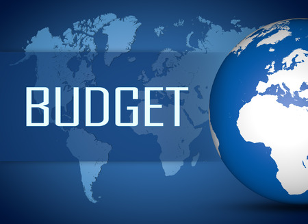 budgets: Budget concept with globe on blue world map background Stock Photo