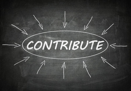 contribute: Contribute process information concept on blackboard.