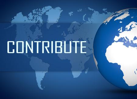 contribuire: Contribuire concetto con globo su sfondo mappa mondo blu