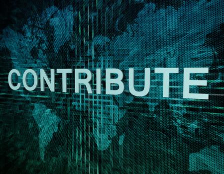 contribuire: Contribute concetto testo sul verde mondo digitale sfondo mappa