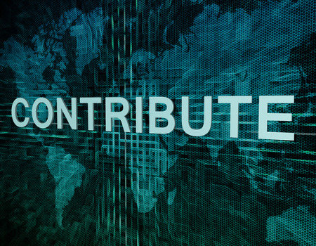 contribute: Contribute text concept on green digital world map background