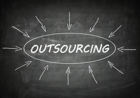 Outsourcing process information concept on black chalkboard. photo