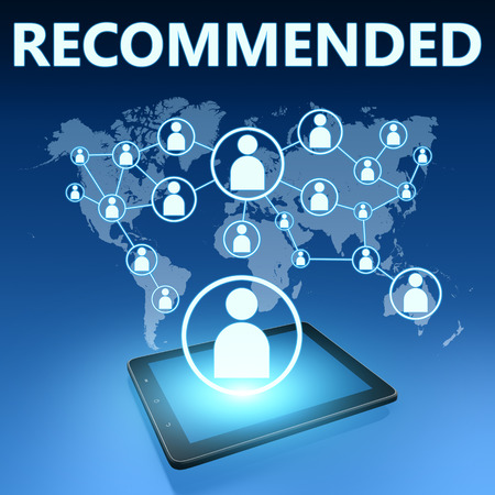 recommendations: Recommended illustration with tablet computer on blue background Stock Photo