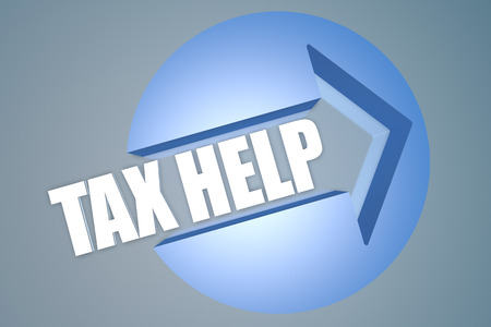 government services: Tax Help - text 3d render illustration concept with a arrow in a circle on blue-grey background Stock Photo