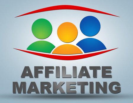 affiliates: Affiliate Marketing - communication concept with sign and text Stock Photo