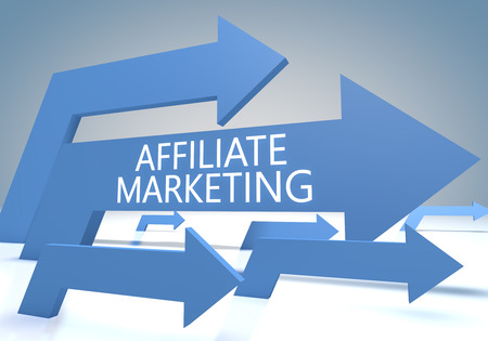affiliates: Affiliate Marketing render concept with blue arrows on a bluegrey background.