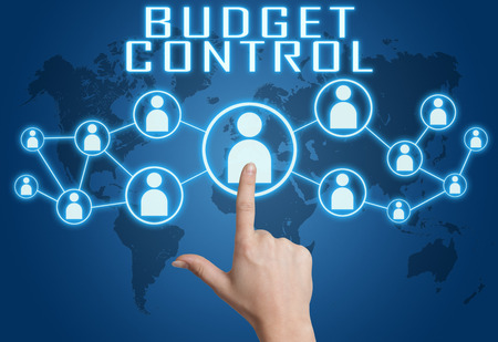 budgets: Budget Control concept with hand pressing social icons on blue world map background.