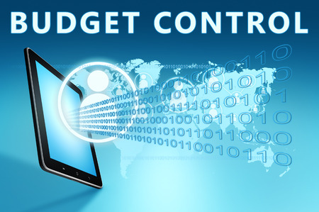 budgets: Budget Control illustration with tablet computer on blue background