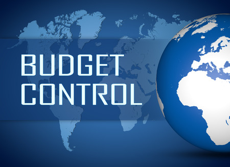 budgets: Budget Control concept with globe on blue world map background