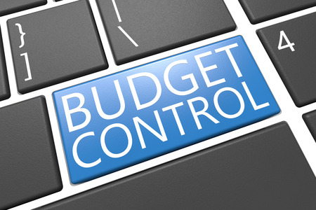 current account: Budget Control - keyboard 3d render illustration with word on blue key