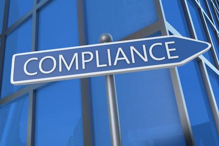gobierno corporativo: Cumplimiento - ilustraci�n con placa de la calle en frente del edificio de oficinas.