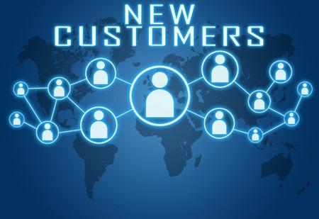 Nouveau concept de clients sur fond bleu avec la carte du monde et les icônes sociales.