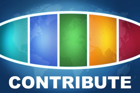 contribuire: Contribute testo concetto illustrazione su sfondo blu con mappa del mondo