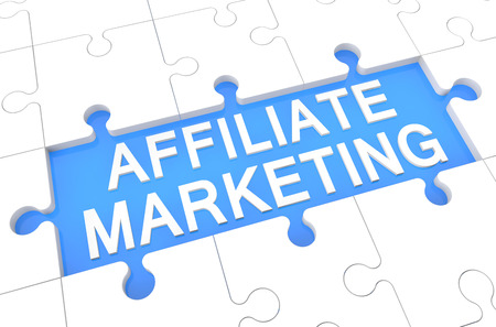 affiliates: Affiliate Marketing - puzzle 3d render illustration with word on blue background Stock Photo