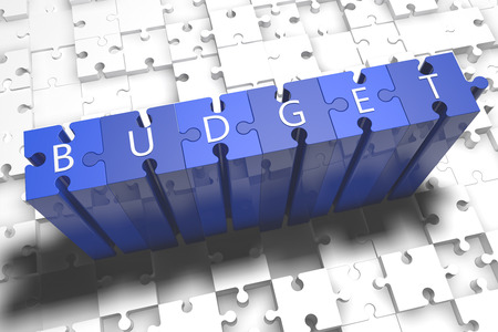 budgets: Budget - puzzle 3d render illustration with block letters on blue jigsaw pieces