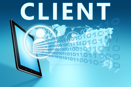 Client illustration with tablet computer on blue background Stock Photo