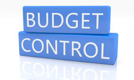 budgets: 3d render blue box with text Budget Control on it on white background with reflection