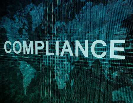 legality: Compliance text concept on green digital world map background