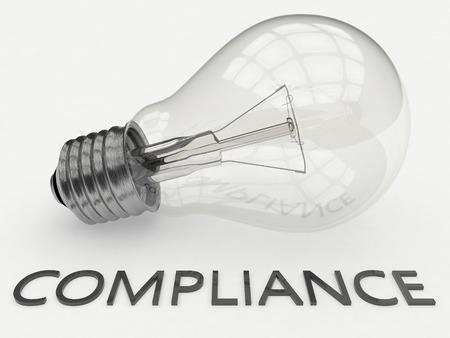 gobierno corporativo: Cumplimiento - bombilla sobre fondo blanco con el texto debajo de ella. 3d ilustraci�n.