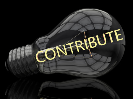 Contribute - lightbulb on black background with text in it. 3d render illustration.