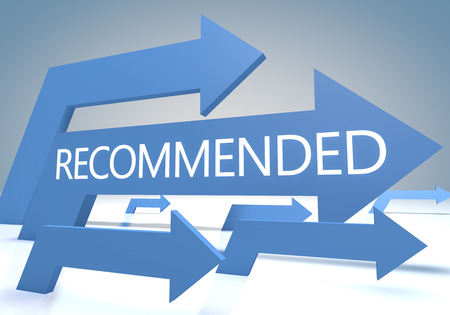 product reviews: Recommended render concept with blue arrows on a bluegrey background.