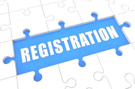 Registration - puzzle 3d render illustration with word on blue background Foto de archivo