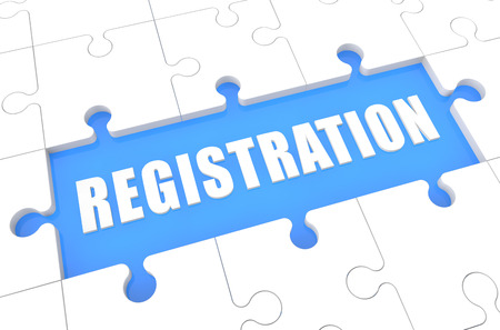 Registration - puzzle 3d render illustration with word on blue background Stock Photo