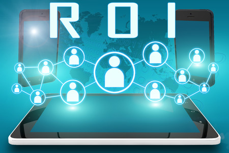 ROI - Return on Investment - text illustration with social icons and tablet computer and mobile cellphones on cyan digital world map background