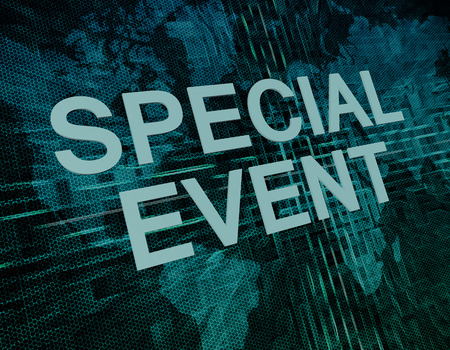 special event: Special Event text concept on green digital world map background