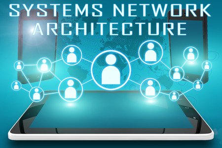 distributed: Systems Network Architecture - text illustration with social icons and tablet computer and mobile cellphones on cyan digital world map background Stock Photo