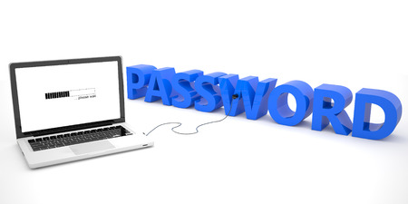 Password - laptop computer connected to a word on white background. 3d render illustration. illustration