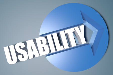 usability: Usability - 3d text render illustration concept with a arrow in a circle on blue-grey background Stock Photo