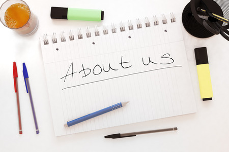 About us - handwritten text in a notebook on a desk - 3d render illustration. illustration