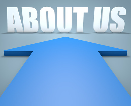 About us - 3d render concept of blue arrow pointing to text. photo