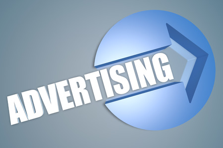 advertising text: Advertising - text 3d render illustration concept with a arrow in a circle on blue-grey background