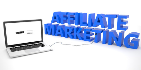 affiliates: Affiliate Marketing - laptop computer connected to a word on white background.  Stock Photo