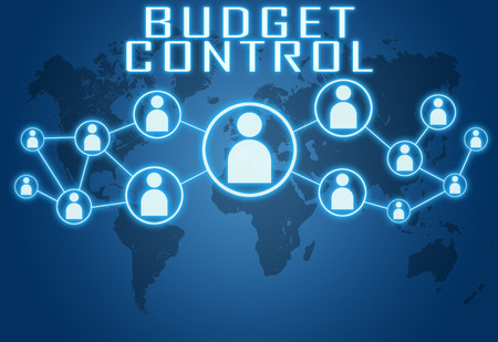 budgets: Budget Control concept on blue background with world map and social icons.