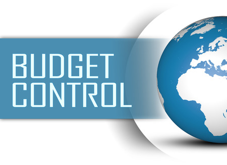current account: Budget Control concept with globe on white background