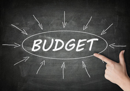 budgets: Budget process information concept on blackboard with a hand pointing on it. Stock Photo
