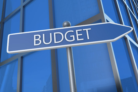 budgets: Budget - illustration with street sign in front of office building.
