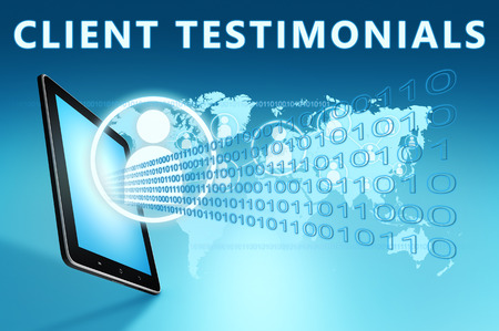 affirmations: Client Testimonials illustration with tablet computer on blue background