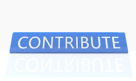 contributions: 3d render blue box with text Contribute on it on white background with reflection