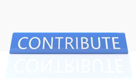 contribuire: Rendering 3D scatola blu con il testo Contribute su di esso su sfondo bianco con la riflessione