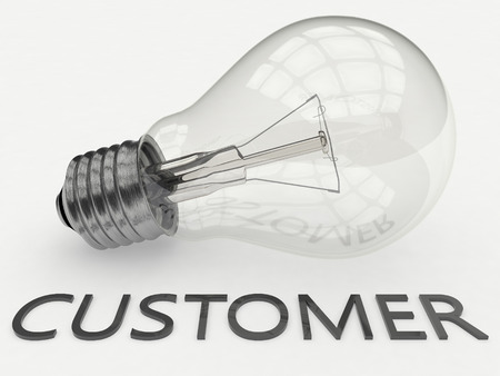 warranty questions: Customer - lightbulb on white background with text under it. 3d render illustration.