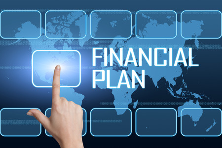 financial planning: Financial Plan concept with interface and world map on blue background
