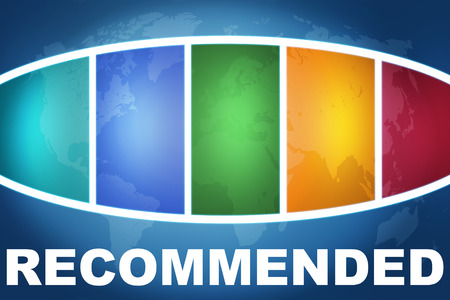 recommendations: Recommended text illustration concept on blue background with colorful world map