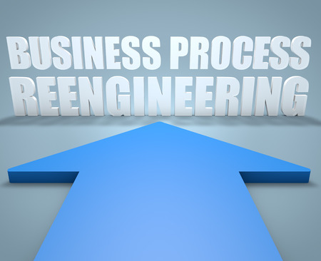 reengineering: Business Process Reengineering - 3d render concept of blue arrow pointing to text. Stock Photo
