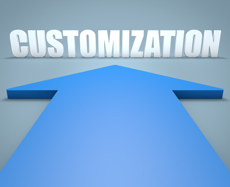 blue arrow: Customization - 3d render concept of blue arrow pointing to text.